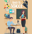 back to school poster with student and teacher vector image vector image