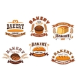 Bakery shop badge with bread and baguette vector image vector image