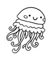 black and white contour doodle jellyfish vector image vector image