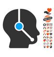 call center operator icon with valentine bonus vector image vector image