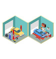 car service isometric people repair cars with vector image