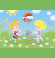 children playing a colorful ball on a playground vector image vector image