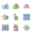 close money icons set cartoon style vector image vector image