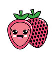 color kawaii scared strawberry icon vector image
