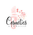 delicate logo design with abstract pink cosmetic vector image vector image