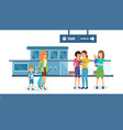 families with children and luggage on station vector image vector image