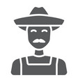 farmer glyph icon farming and agriculture vector image