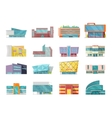 flat style commercial buildings collection vector image