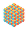 geometric cube of smaller isometric cubes vector image vector image