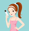 Girl Holding Beauty Packaging vector image vector image