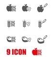 grey genetically modyfied food icon set vector image vector image