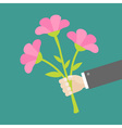Hand holding bouquet of pink flowers Flat design vector image vector image
