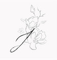 handwritten line drawing floral logo monogram j vector image vector image