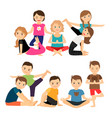 kids groups in yoga poses vector image vector image