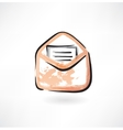 letter in an envelope grunge icon vector image