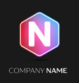 letter n logo symbol in colorful hexagonal vector image vector image