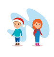 little kids with winter clothes vector image