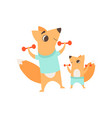 loving father fox playing exercising with vector image vector image