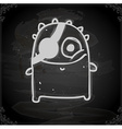 monster with eye patch drawing on chalk board vector image vector image
