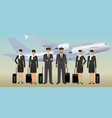 muslim pilots and stewardesses characters in vector image vector image