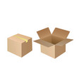open and closed cardboard box vector image vector image