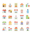 pack of buildings flat icons vector image
