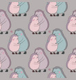 pattern with a couple of cute cartoon hedgehogs vector image vector image