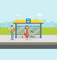 people standing at bus stop in city parents and vector image vector image