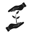 plant in hand icon vector image vector image