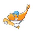 playing baseball tempura character cartoon style vector image