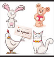 rabbit hen bear cat - set animals vector image