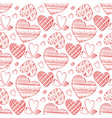 red doodle hearts seamless pattern vector image vector image