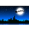 Santa sleigh in Christmas Night on City vector image