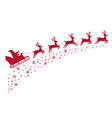 santa sleigh reindeer flying on background vector image