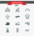 shipping icons set with copter bus shipping tour vector image