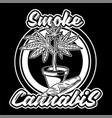 smoke cannabis print vector image vector image