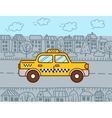 Taxi cab in the city vector image