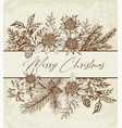 vintage floral christmas greeting card vector image vector image
