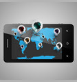 world map with 3d pins on a telephone vector image vector image