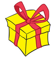 yellow gift box vector image vector image