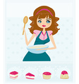Beautiful young lady cooking cakes vector image