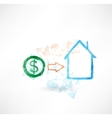 House money grunge icon vector image