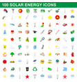 100 solar energy icons set cartoon style vector image