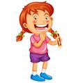 a girl holding pencil cartoon character vector image
