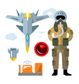 air force pilot flat style colorful vector image vector image