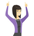 asian business woman standing with raised arms up vector image vector image