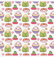 asian food cute kawaii background vector image