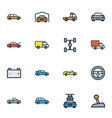 auto icons colored line set with battery carwash vector image vector image