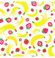 banana strawberry background painted pattern vector image vector image