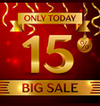 big sale fifteen percent for discount vector image vector image